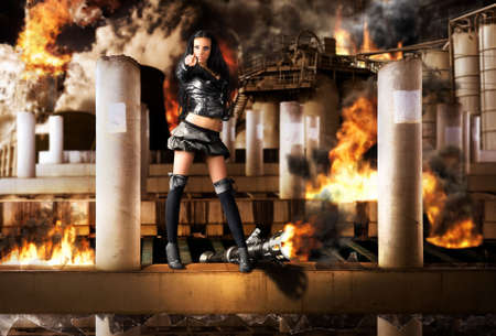 You are the next! Young woman with grenade launcher on ruined city background. photo