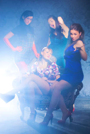 At the club. Four women glamour club photo. Stock Photo - 5283130
