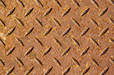 checkerplate: Rusty metal texture or background.