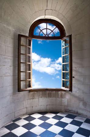 Old wide open window in castle. photo