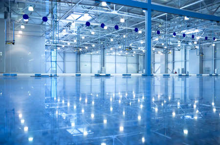 futuristic interior: Abstract modern empty inderior. Blue tint. Stock Photo
