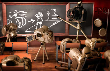 digicam: Photography lesson. Funny image about teaching photography. Stock Photo