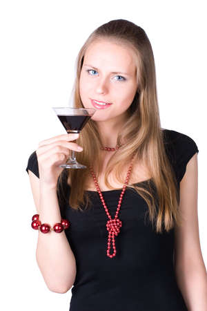 Young woman with glass of wine. Isolated on white. photo