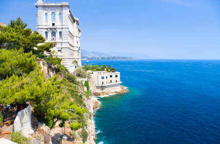 monaco: Monaco coast. Ancient buildings and blue sea.