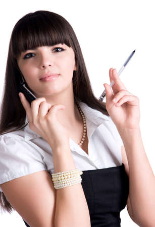 flip phone: Businesswoman with pen and mobile phone. Isolated on white.