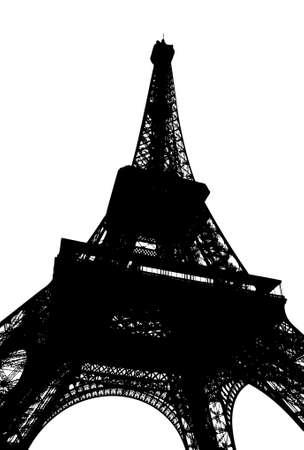Eiffel tower in Paris. Silhouette on white. photo
