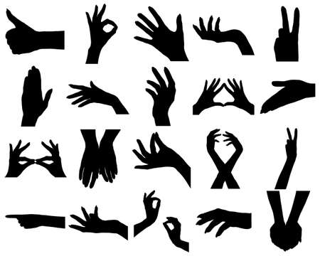 french manicure: Twenty woman hands silhouettes. On white.