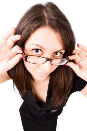 Businesswoman with eyeglasses wide angle portrait. Isolated on whie. photo