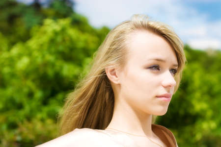 breen: Woman outdoors portrait. Soft focus effect.