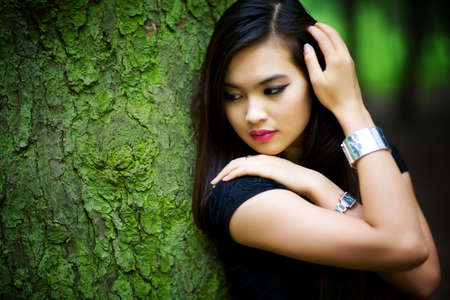 Young woman in forest portrait. Shallow dof. Stock Photo - 5406701