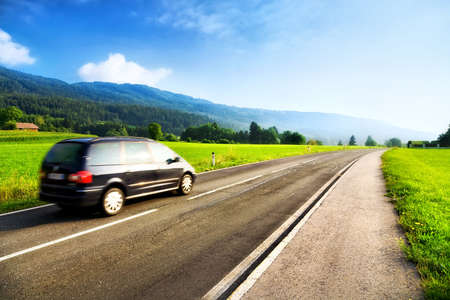 car driving: Mountains travel. Road with left driving.