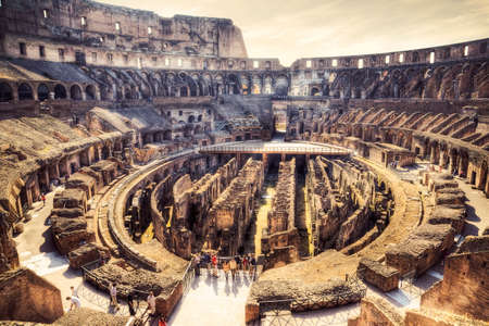 past civilizations: Inside Coliseum. Draw stylized photo (HDR). Stock Photo