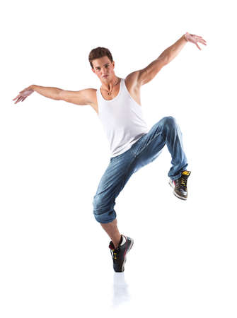 Male dancer. Isolated on white. photo
