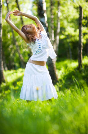 Young woman nature relax. Delighting good weather. photo