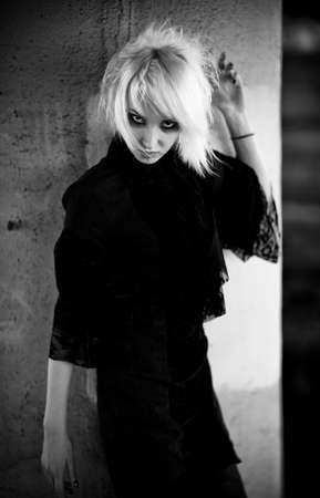 Goth woman portrait. Black and white. photo