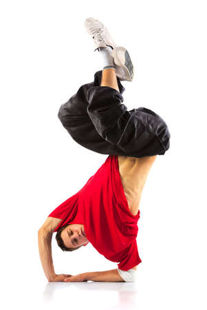 Young man modern dance. Isolated on white. photo