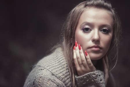 Young pensive woman portrait. Soft colors. Stock Photo - 5736152