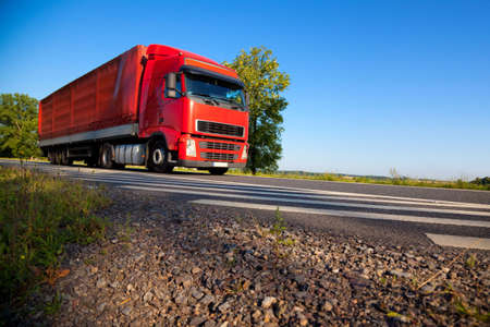 wide angle: Truck cargo transportation. Wide angle view. Stock Photo