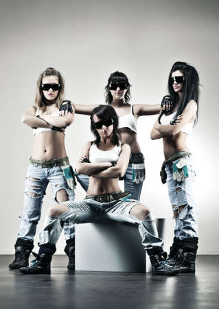 Cool women workers. Contrast colors. Stock Photo - 5937283
