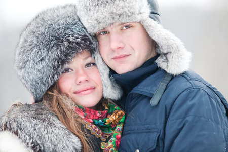 Young couple winter outdoors portrait. Stock Photo - 6243664