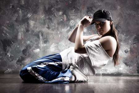 dance floor: Young woman dancer. Contrast colors. Stock Photo
