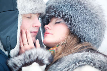 Young couple tender outdoors portrait. photo