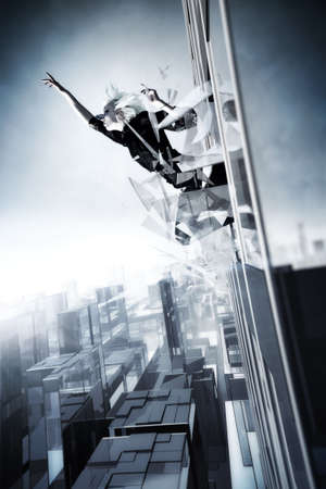 smash: Goth woman jumping out of the skyscraper. Cold blue tint.