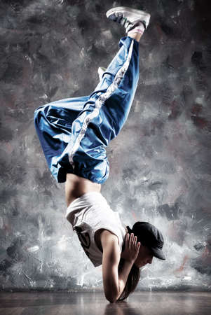 contrast: Young woman dancer. Contrast colors. Stock Photo