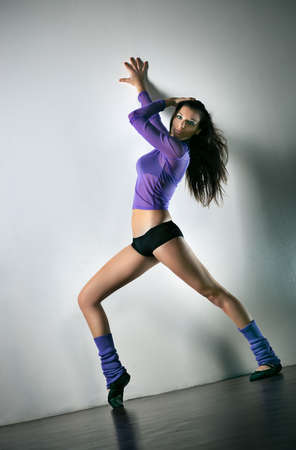 angle view: Young woman fitness exercises. Camera angle view. Stock Photo