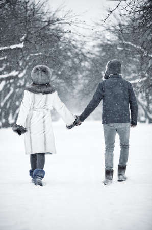 winter couple: Young couple walking in a park. Backside view. Stock Photo