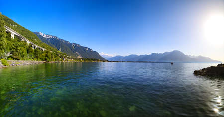Geneva lake in Switzerland. Panorama view from famous Chillon castle.