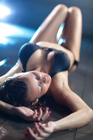 wet breast: Young woman fashion