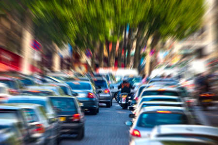 drive way: Traffic jam. Zoom blur effect.