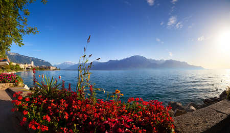 montreux: Geneva lake in Switzerland panorama. View from Montreux city shore. Stock Photo
