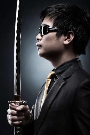 Cool japanese with samurai sword fashion. photo