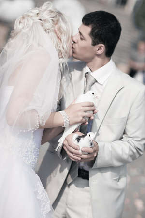 Young wedding couple. Focus on pigeons. photo