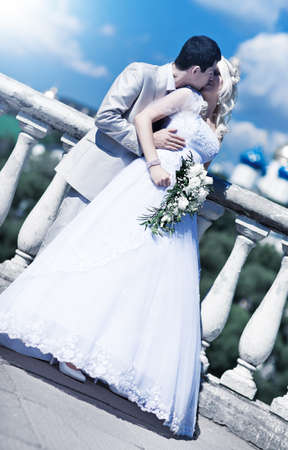Young couple wedding. Bright white colors. photo
