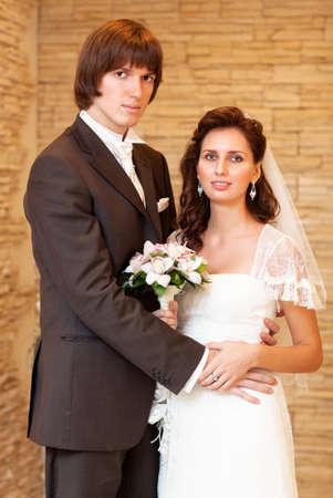 Young wedding couple indoors portrait. Stock Photo - 8964053