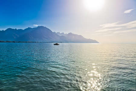 Geneva lake in Switzerland. Wide angle view. Stock Photo - 9625072