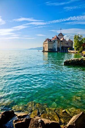 Chillon Castle at Geneva lake in Switzerland. photo