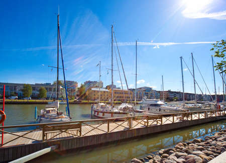 turku: Turku Finland cityscape. View on a harbour with yachts.