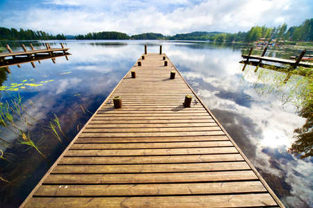 wide angle: Wooden bridge. Wide angle view. Stock Photo