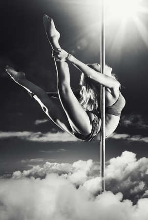 pole dance: Young pole dance woman fantasy.