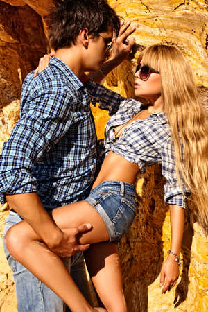 Young couple in love outdoors. photo
