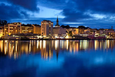 Bergen city in Norway. Night panorama. photo