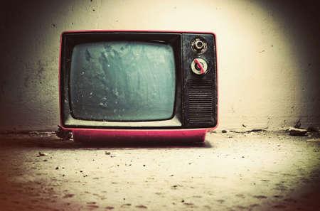 retro tv: Old TV in room. Retro style colors.