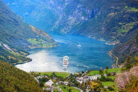 Norway Geiranger fjord  View from mountain