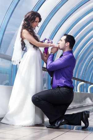 Young wedding couple. Bright white colors. photo