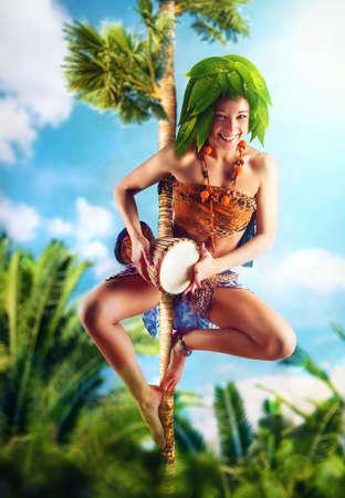 aborigine: Aborigine with drum on tree