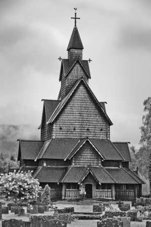 Wooden church in Norway  Black and white  photo
